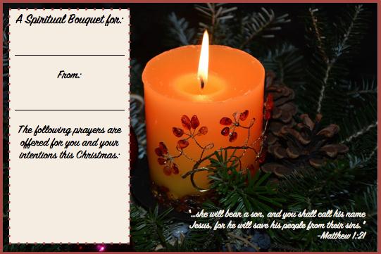 Christmas spiritual bouquet from CatholicKatie.com