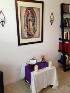 altar and bookshelf
